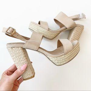 Revolve Raye Nude Size 8.5 Block Heel Sandal